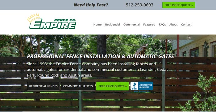 empire fence modern website design and seo