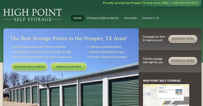 high point self storage modern website design and seo