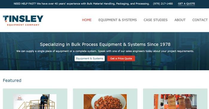 tinsley equipment company modern website design with seo